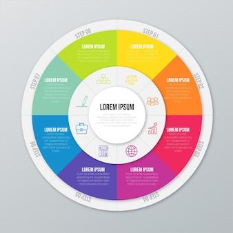 Flache kreisförmige diagramm infografik