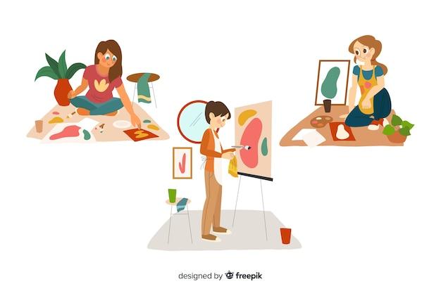 Flache künstler bei der arbeitssammlung