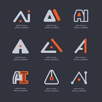 Flache künstliche intelligenz-logo-sammlung