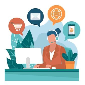 Flache kundenbetreuung abgebildet