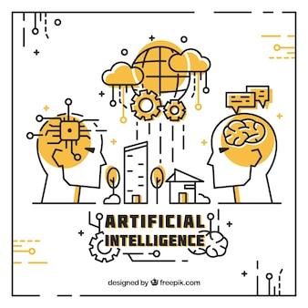 Flache künstliche Intelligenz Hintergrund