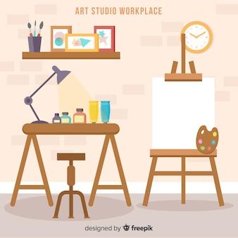 Flache kunststudio-arbeitsplatzillustration