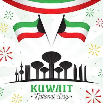 Flache kuwait nationalfeiertagsillustration mit berühmten gebäuden