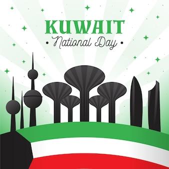 Flache kuwait nationalfeiertagsillustration mit gebäuden