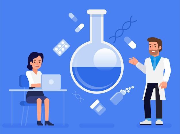 Flache laborforschung wissenschaft laborwissenschaftler arzt krankenschwester konzept web-infografiken illustration. medizinische fachkraft konzeptionell.
