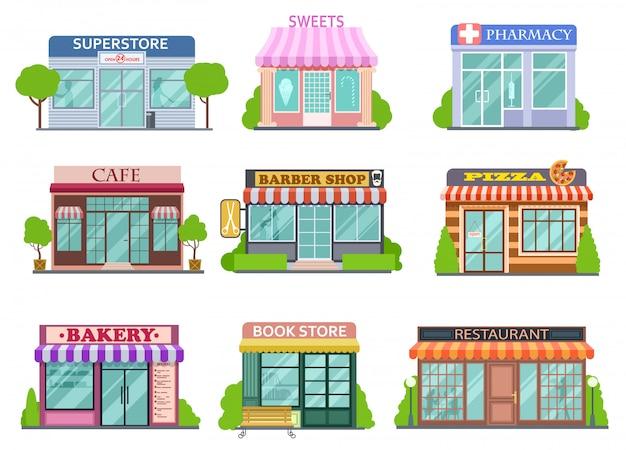 Flache läden eingestellt. friseur, buchhandlung und apotheke. bäckerei und pizza isolierte karikaturgeschichten-vektorsammlung