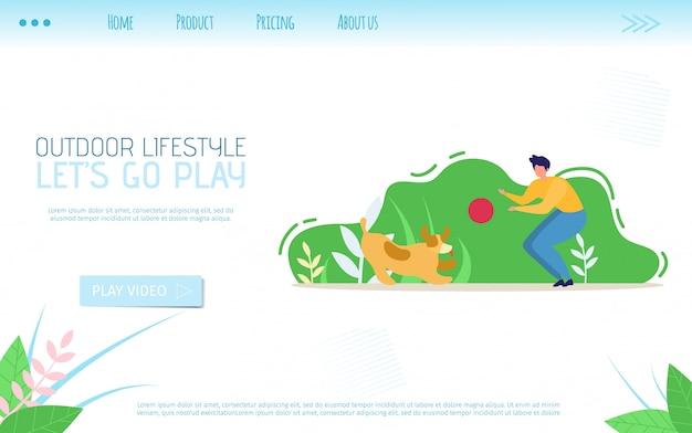 Flache landing page-aufrufe für lifestyle im freien go play