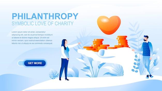 Flache landing page der philanthropie mit titel, fahnenschablone.
