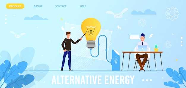 Flache landing page für umweltfreundliche alternative energien