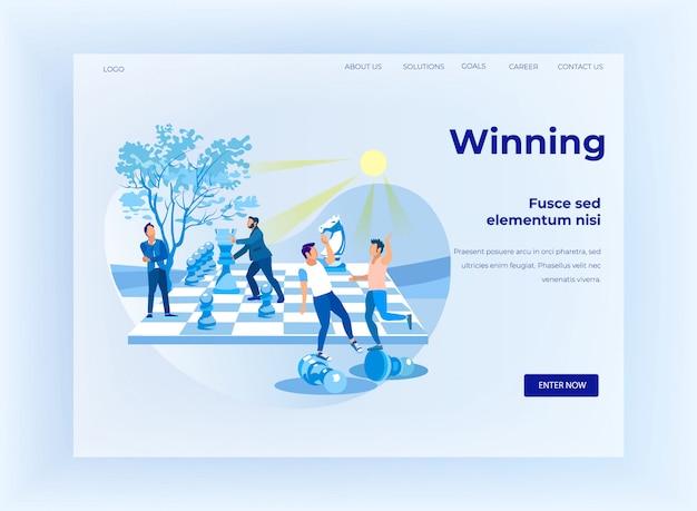 Flache landing page mit schachspiel-design zu gewinnen