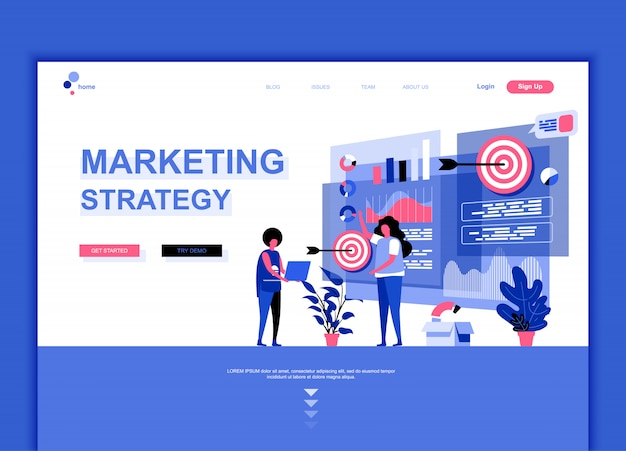 Flache landing-page-vorlage für marketingstrategie