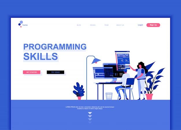 Flache landing-page-vorlage für programmierfertigkeiten