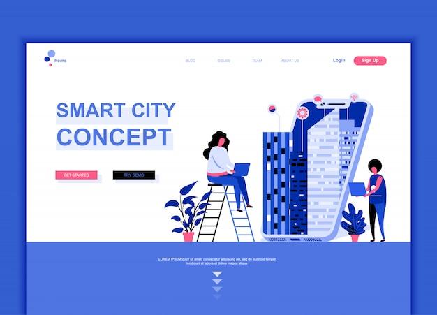 Flache landing-page-vorlage von smart city