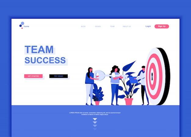 Flache landing-page-vorlage von team success