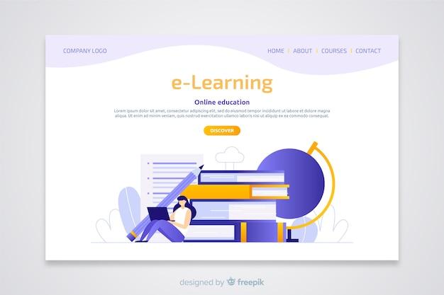 Flache landingpage des e-learning-konzepts