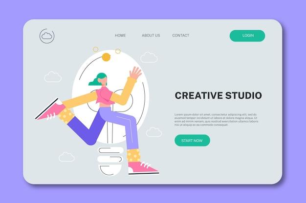 Flache landingpage für kreative lösungen