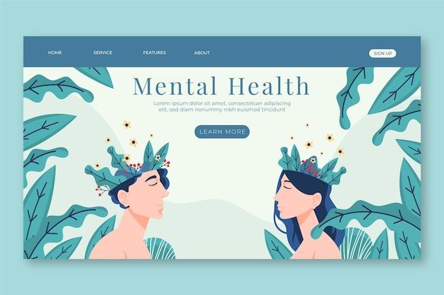 Flache landingpage für psychische gesundheit