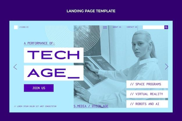 Flache landingpage mit minimaler technologie