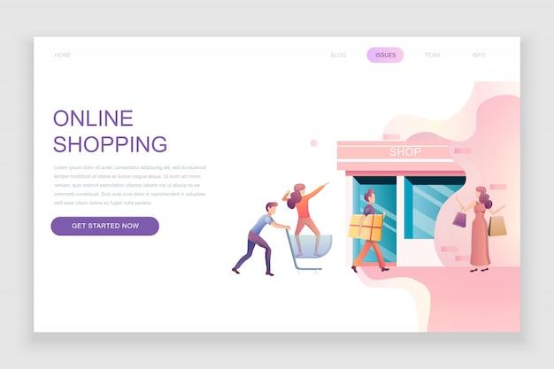 Flache landingpage-vorlage des online-shoppings