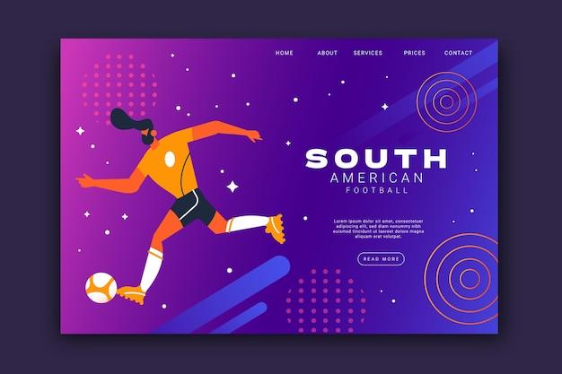 Flache landingpage-vorlage des südamerikanischen fußballs