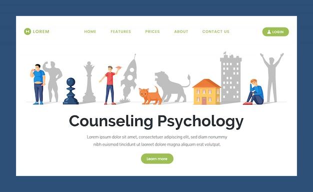 Flache landingpage-vorlage für beratungspsychologie. verstecktes potenzial und design von webseiten für das gesundheitswesen