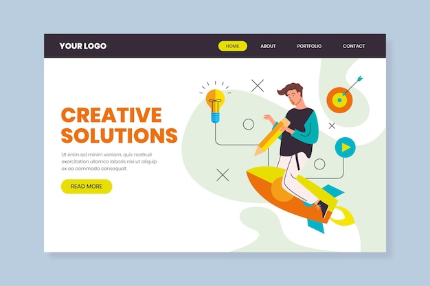 Flache landingpage-vorlage für kreative lösungen