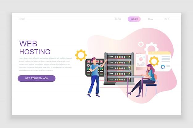 Flache landingpage-vorlage von web hosting