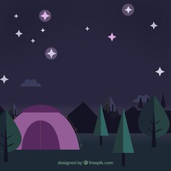 Flache landschaft am nacht hintergrund