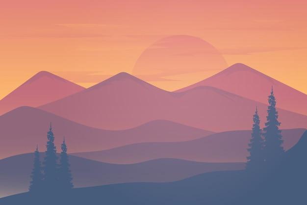 Flache landschaft die berge und wälder sehen am nachmittag mit hellem sonnenlicht wunderschön aus