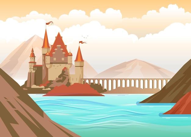 Flache landschaft mit mittelalterlicher burg auf felsen in der seeillustration