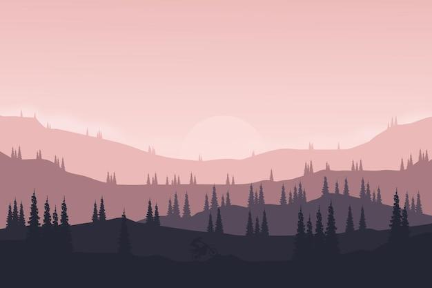 Flache landschaft natürliche berge und hügel wie motorrad oder malaju im pinienwald