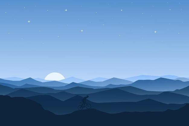 Flache landschaft schöne bergnatur am morgen mit nebel