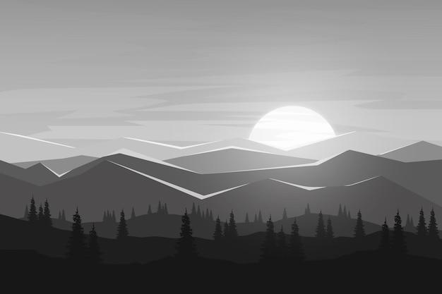 Flache landschaft schöne kiefernwald berge natur sonnigen morgen