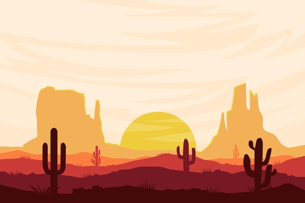 Flache landschaft schöne wüste in der tagesnatur