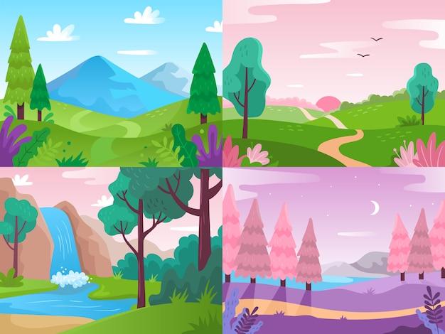 Flache landschaft. sommerfeldnatur, waldfauna und wasserfalllandschaften. hintergrundillustration der berge und des bewölkten himmels