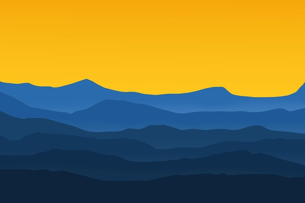 Flache landschaft vektor berge himmelsfarbe blau und gelb