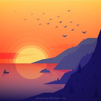 Flache landschaft von bergen am meer