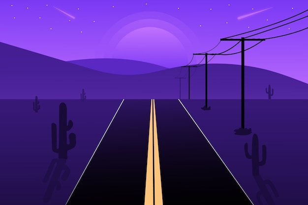 Flache landschaftsstraßen und berge bei nacht