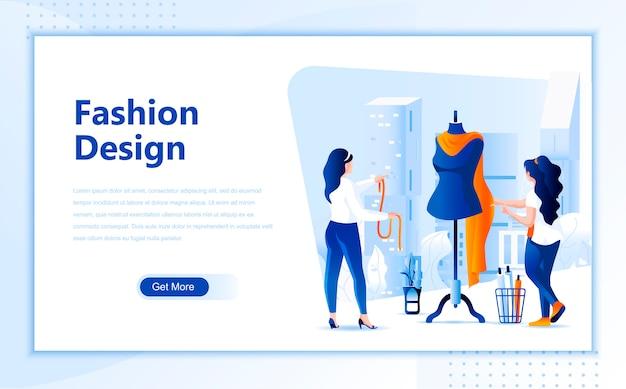 Flache landungseitenschablone des modedesigns von homepage