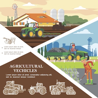 Flache landwirtschaft bunte schablone mit landwirten, die ernte ernten und boden mit landwirtschaftlichen fahrzeugen transportieren