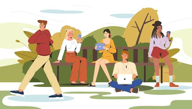 Flache leute, die auf einer bank im stadtpark sitzen und gadgets benutzen