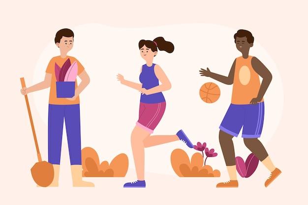 Flache leute, die basketball spielen