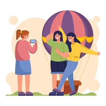 Flache leute, die fotos mit smartphone machen