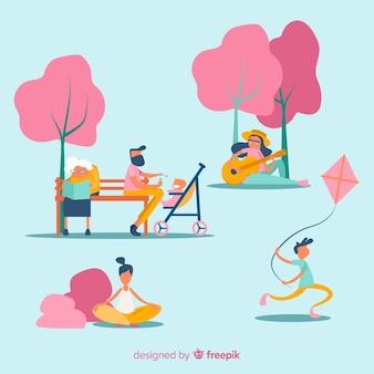 Flache Leute, die Freizeitaktivitäten im Freien tun