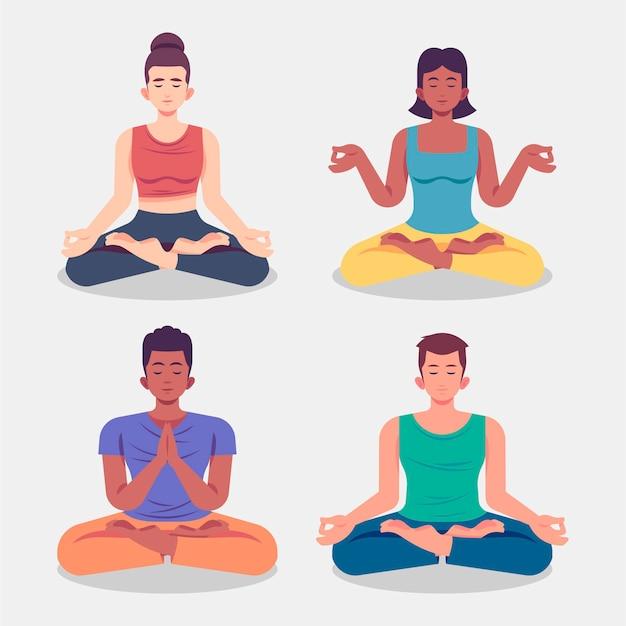 Flache leute, die illustration meditieren