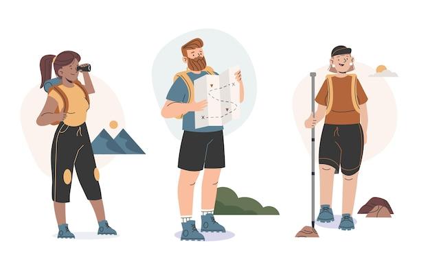 Flache leute, die outdoor-aktivitäten machen