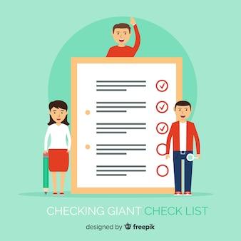 Flache leute, die riesigen checklistenhintergrund überprüfen