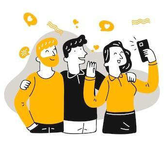 Flache leute, die selfie mit smartphone machen
