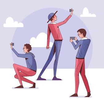 Flache leute, die selfies mit smartphone machen