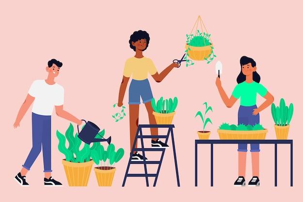 Flache leute, die sich um pflanzen kümmern, packen